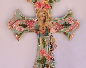 Wooden Crucifix, Religious Cross, Virgen de Guadalupe, Mexican Art