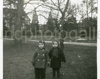 Vintage Photo, Two Adorable Children in Park, Black & White Photo, Found Photo, Old Photo, Snapshot, Childhood, Pixie Children