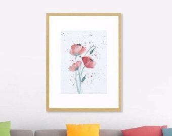 Printable Art Red Poppies Art Print of Original Watercolor Painting, Watercolor Poster, Floral Print, Flowers Illustration Print, Poppy Art