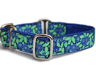 Martingale Collar or Buckle Dog Collar - Secret Garden Jacquard - 1 Inch