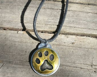 Paw Print Necklace Upcycled Dog Lover Gift For Men Girls Animal Necklace