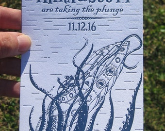 20,000 Leagues Under the Sea Custom Letterpress Wedding Invitation