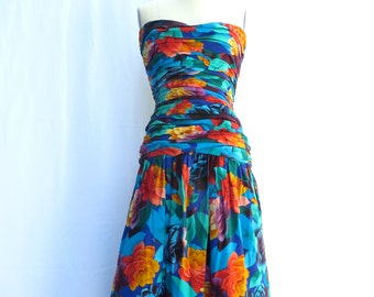 Vintage 1980's/Albert Nipon/Floral Silk Strapless Dress/Tropical Print Silk Dress/Havana Nights/Silk Floral Dress/