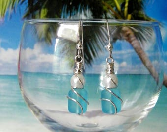 Aqua tumbled glass white pearl silver wire wrapped earrings, beach earrings