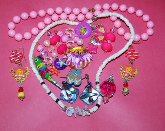 Kids Jewelry Craft Lot Fun Jewelry Pastels Flowers Earrings Necklaces Vintage Gift For Kids
