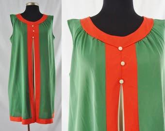 SALE Vintage Sixties Lingerie - 1960's Color Block Babydoll - 60's Nightgown - Vintage Lingerie - Large - XL