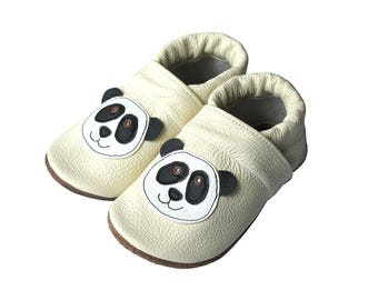 Leather Baby Booties, Panda Bear, Baby Shoes, Infant Newborn Nursery Children Black Beige White