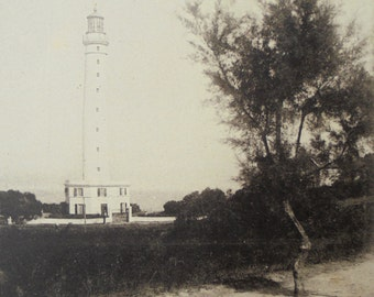 Vintage Unused French Postcard - Lighthouse at Biarritz, France