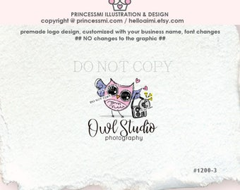 1200-3 owl logo. owl photography logo, newborn photography logo, cute owl, photographer logo, blogger logo, business card, banner, watermark