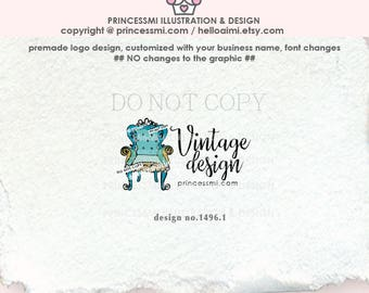 1496-1  furniture logo, vintage chair logo, Premade Logo Design, hand drawn vintage chair illustration, home decor, watermark, business
