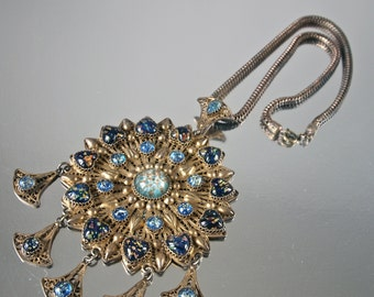Antique Cannetille Pendant, Etruscan Revival, Czech Gold Flecked Art Glass, Filigree, Huge Sunburst