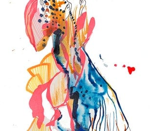 Original Surreal Watercolor Painting, Abstract Fashion Illustration Art Painting feature Masked Venetian Figure - A28