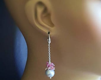NEW! Dove Grey Freshwater Pearl with Shaded Ruby Cluster Drop Dangle Earrings on Sterling Silver CZ Ear Wires