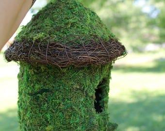 Father's Day Birdhouse, bird house, Moss covered birdhouse, moss covered bird house, natural birdhouse, wicker bird house, nesting birdhouse