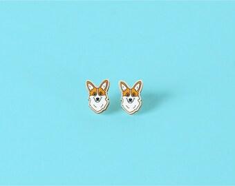 Pembroke Welsh Corgi Wood Earrings - Studs