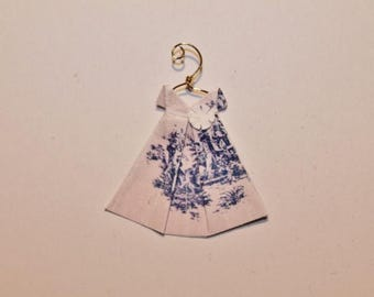 "Miniature Origami Dress with hanger rosy beige background with blue toile dress (about 1 1/4"" x 1 3/8"")"
