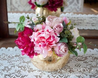 Wedding Centerpiece, Peony and Rose Gold Wedding Centerpiece, Gold Centerpiece