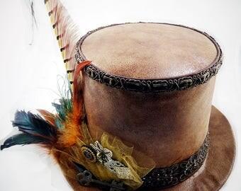 Brown Top Hat, Top Hat, Steampunk Top Hat, Festival Hat, Costume Hats, Cosplay Hat, Burning Man Hat, Victorian Wedding, Steampunk Wedding