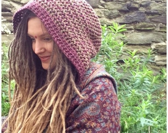 Woodland Hood Unisex, Crochet Pixie Hood, Dread Snood, Scoodie