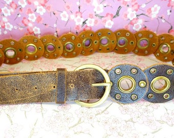 Vintage brown studded circles large distressed leather belt, brown boho chic hipster circle studded low waisted leather belt