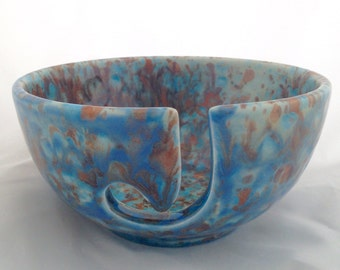 Blue and Brown Speckled Yarn Bowl - Ceramic Knitting Bowl - Pottery