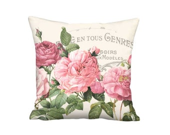 Pink Rose Pillow Cover - Pink Shabby Decor French Cottage Pillow - 16x 18x 20x 22x 24x 26x 28x Inch Linen Cotton Rose Cushion Cover
