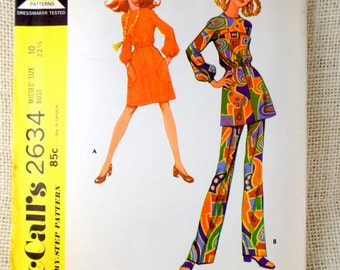 McCall's 2634 Vintage sewing pattern balloon sleeve elastic waist Midi Maxi dress Bust 32.5 1970s uncut pants suit Tunic bell bottom Hippie