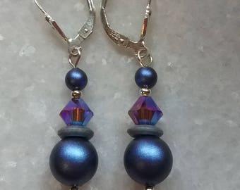 Dainty Iridescent Blue Drop Earrings //  Swarovski Crystals // Swarovski Pearls // Art Deco 925 Sterling Silver Leverback Earwires