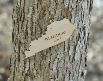 Natural Wood Kentucky State Ornament WITH 2017