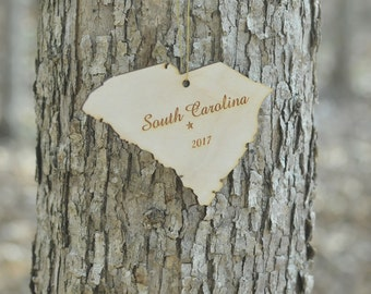 Natural Wood South Carolina State Ornament WITH 2017
