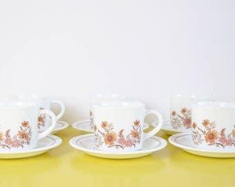 Vintage Pyrex Tea Cups and Saucers, Set of 6 Retro Floral Tea Cups and Saucers, Peach Flower Pattern 70's Pyrex Mugs and Saucers