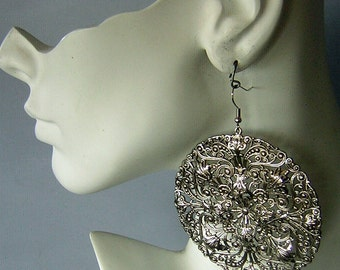 "Silver Filigree Earrings ENORMOUS 3"" Discs of Lacy Lovely Texture for Pierced Ears"