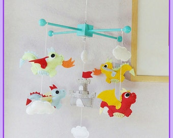 Castle and Dragon Crib Mobile, Dragon Baby Mobile, Flying Dragon, Dragon Nursery Decor, Baby Boy Mobile, Dragon Nursery Theme