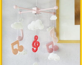 Music Note Mobile, Baby Mobile, Music Note Decor, Girl Mobile, Modern Nursery Decor, Music Notes and Clouds Mobile, Pink and White Theme