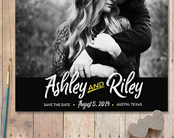 Save-the-date magnet, save the dates modern invite postcard engagement invitation wedding invite, photo save the date card cheap  - 1701