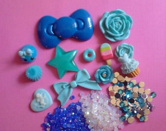 Kawaii blue cabochon charm craft decoden deco diy kit  B 47--USA seller