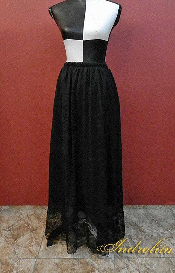 Gothic Dark Lace  Long Skirt