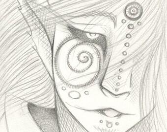 Original Drawing Sketch Elf Dark Mystical Magical Fantasy Mythical