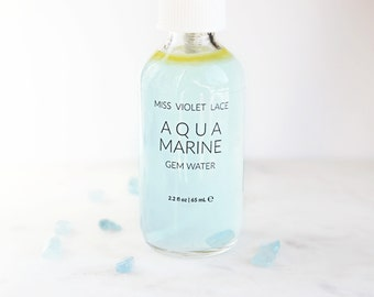 Aquamarine Gem Water | Crystal Facial Mist with aloe vera, rosewood, vanilla, citrus and lavender | 100% natural and vegan