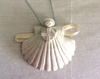 Vintage Margaret Furlong Porcelain Seashell Angel Christmas Ornament