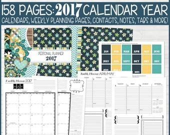 PRINTABLE Planner Kit, 2017 Planner Pages, Agenda, Life Planner Inserts 2017 Calendar Year, ...