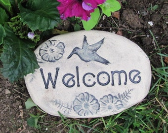 Hummingbird garden decor. Small Welcome sign. Flowerbed walk or pathway. Welcome stone or rock. Handmade pottery under 25 gift