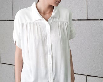 white sheer blouse, white shirt, button down blouse, white top, white summer top, button down white top, loose fit,