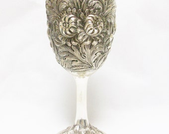 Free US Ship Sterling Silver Stieff 171 Full Repousse Rose Goblet No Monogram /