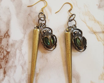 Emerald Egyptian Scarab and Long Spike Earrings