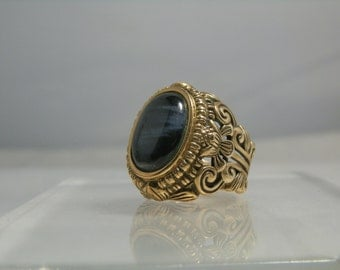 Vintage Barse Ring Labradorite Size 8 Ornate Setting Fashion Jewelry Dark Cabochon Statement Jewelry GallivantsVintage