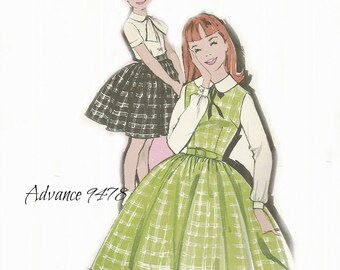 Advance 9478 Girls Jumper, Skirt and Blouse Pattern 1960s Size 12 Chest 30