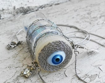 Evil Eye Blue Eye Bottle Galaxy Hanging Charms Silver Necklace