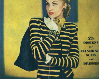 Bernat's 1940s Handicrafter Vol. XV No. 4 Suits & Dresses Knitting Patterns