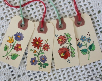 Hungarian Floral Gift Tags - Set of Eight Hand-Painted Tags